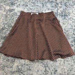 REVERSE Brown Polka Dot Satin Mini Skater Skirt